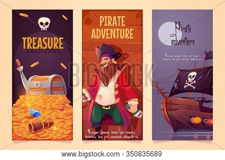 Pirate Adventure Vertical Banners Set, Treasure Chest With Gold, Bearded Smiling Filibuster Captain
