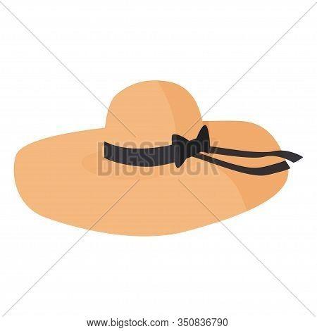 Women Wide Brim Hat. Nice Headwear Isolated On White Background.