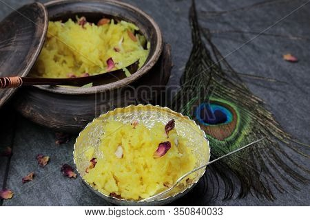 Sweet Rice Or Zarda Pulao On A Grey Background With Copy Space.