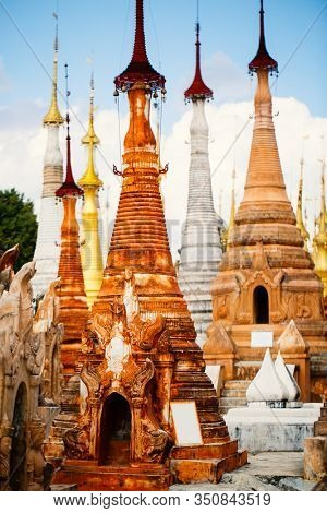 Shwe Indein pagoda with hundrets of centuries old stupas near lake Inle in Myanmar