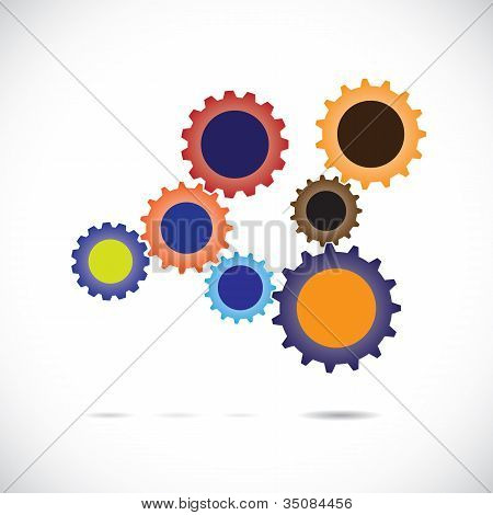 Colorful Abstract Cogwheels In Controlled Rotating Motion Implying Balanced & Synchronous System. Ea