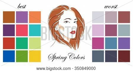 Stock Vector Seasonal Color Analysis Palettes With Best And Worst Colors For Spring Type Of Female A