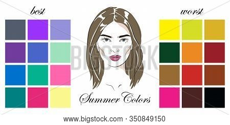 Stock Vector Seasonal Color Analysis Palettes With Best And Worst Colors For Summer Type Of Female A