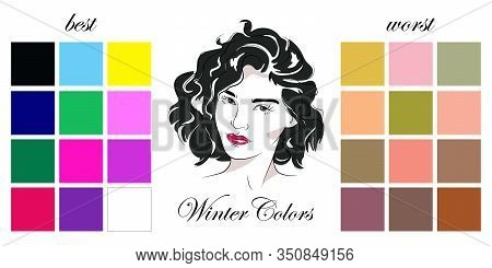 Stock Vector Seasonal Color Analysis Palettes With Best And Worst Colors For Winter Type Of Female A
