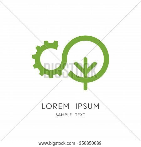 Nature And Industry Logo - Tree And Gear Wheel Symbol. Ecology And Environment, Green Power And Clea