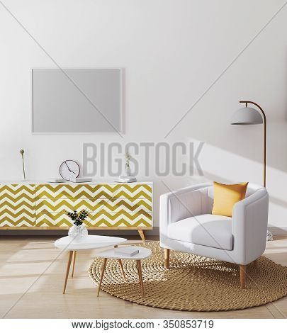 Blank Horizontal Picture Frame In Stylish Scandinavian Living Room Interior Of Modern Apartment With