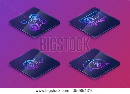 Set Isometric Line Coin Money With Dollar, Coin Money With Dollar Symbol, Monitor With Dollar And Sp
