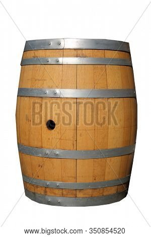 Wine Barrel. beer barrel. whiskey barrel. Liquor Barrel. Wooden Drum used in the manufacturing and storage of Wine, Beer, Whiskey and other liquids. Wooden drums are used world wide. Isolated on white