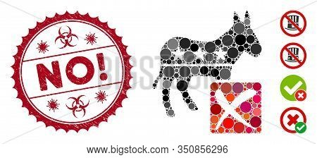 Mosaic Decline Democratic Icon And Rubber Stamp Seal With No Exclamation Text And Biohazard Symbol.