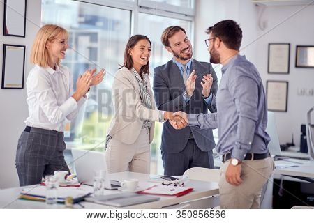 handshake of business people on meeting.Successful business people completed business meeting.