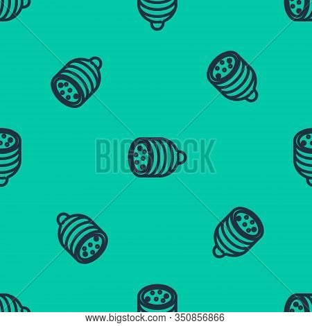 Blue Line Salami Sausage Icon Isolated Seamless Pattern On Green Background. Meat Delicatessen Produ