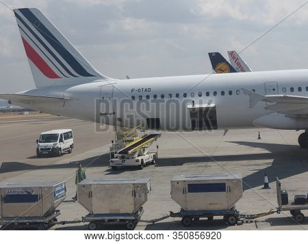 Madrid, Spain - Circa September 2018: Air France Airbus A321 Parked At The Airport