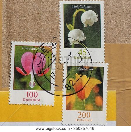 Berlin, Germany - Circa August 2015: Stamps Printed By Germany Showing Flowers