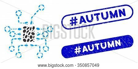 Collage Electronics And Distressed Stamp Seals With Hashtag Autumn Phrase. Mosaic Vector Electronics