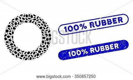 Mosaic Rubber Tire And Grunge Stamp Watermarks With 100 Percent Rubber Caption. Mosaic Vector Rubber