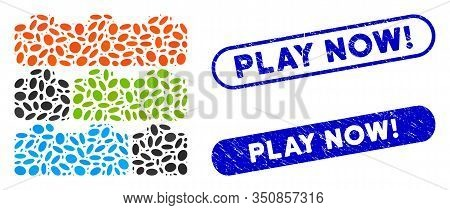 Mosaic Toy Constructor Bricks And Corroded Stamp Seals With Play Now Exclamation Caption. Mosaic Vec