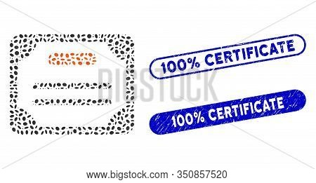Mosaic Certificate And Corroded Stamp Seals With 100 Percent Certificate Text. Mosaic Vector Certifi