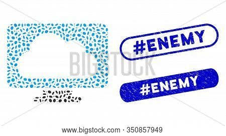 Mosaic Monitor And Distressed Stamp Seals With Hashtag Enemy Caption. Mosaic Vector Monitor Is Desig