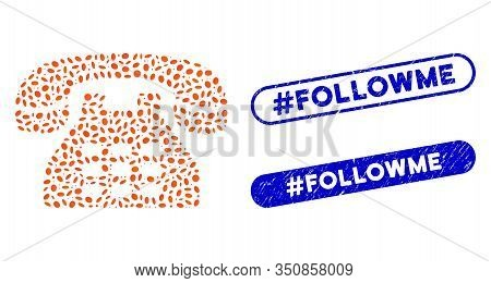 Mosaic Phone And Rubber Stamp Seals With Hashtag Followme Text. Mosaic Vector Phone Is Designed With