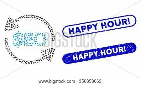 Mosaic Refresh Seo And Distressed Stamp Seals With Happy Hour Exclamation Caption. Mosaic Vector Ref