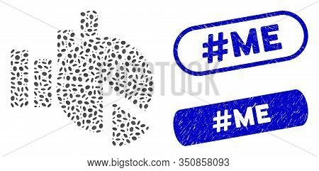 Mosaic Statistics And Grunge Stamp Seals With Hashtag Me Phrase. Mosaic Vector Statistics Is Created