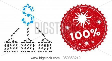 Collage Bank Expenses Icon And Red Round Corroded Stamp Seal With 100 Percent Text And Coronavirus S