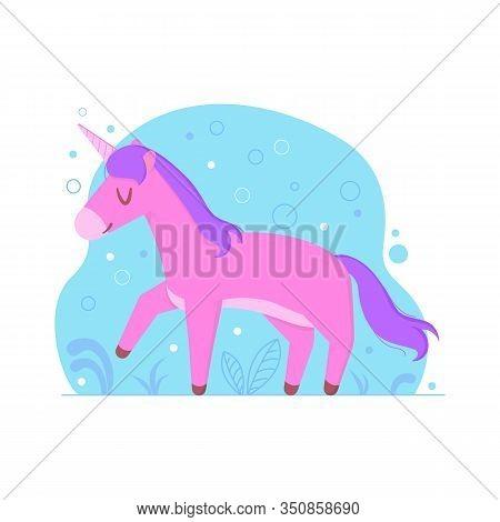 Cute Cartoon Unicorn. Magical Animals. Fairytale Concept. Stock Vector Illustration In Cartoon Flat