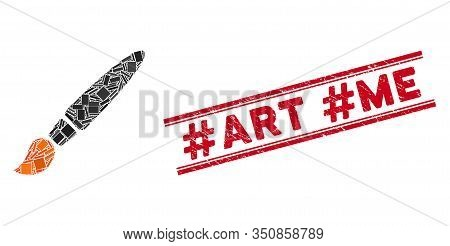 Mosaic Brush Icon And Red Hashtag Art Hashtag Me Seal Stamp Between Double Parallel Lines. Flat Vect