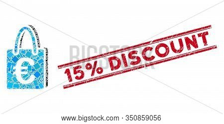 Mosaic Euro Shopping Bag Icon And Red 15 Percent Discount Watermark Between Double Parallel Lines. F