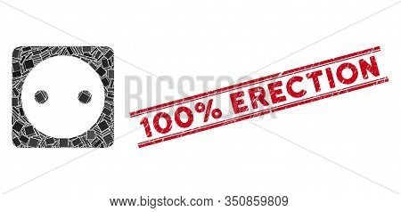 Mosaic Electric Socket Icon And Red 100 Percent Erection Stamp Between Double Parallel Lines. Flat V