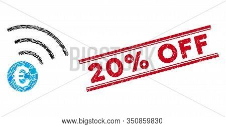 Mosaic Euro Announce Pictogram And Red 20 Percent Off Seal Stamp Between Double Parallel Lines. Flat