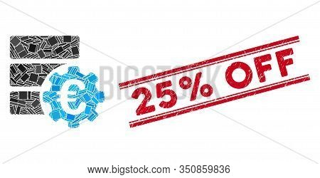 Mosaic Euro Financial Database Options Pictogram And Red 25 Percent Off Seal Between Double Parallel