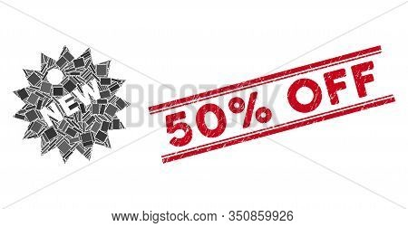 Mosaic New Sticker Icon And Red 50 Percent Off Seal Stamp Between Double Parallel Lines. Flat Vector