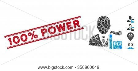 Mosaic Capitalist Oligarch Icon And Red 100 Percent Power Rubber Print Between Double Parallel Lines