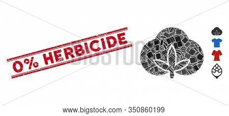 Mosaic Cotton Pictogram And Red 0 Percent Herbicide Stamp Between Double Parallel Lines. Flat Vector