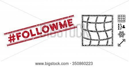 Mosaic Mesh Pictogram And Red Hashtag Followme Seal Between Double Parallel Lines. Flat Vector Mesh