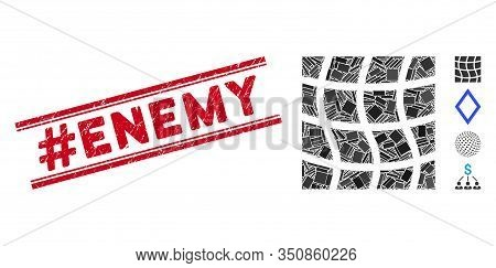 Mosaic Mesh Square Icon And Red Hashtag Enemy Seal Between Double Parallel Lines. Flat Vector Mesh S