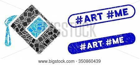 Mosaic Color Fill And Grunge Stamp Seals With Hashtag Art Hashtag Me Text. Mosaic Vector Color Fill