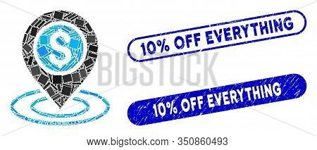 Mosaic Dollar Position And Grunge Stamp Watermarks With 10 Percent Off Everything Phrase. Mosaic Vec