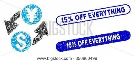 Mosaic Dollar Yen Exchange And Grunge Stamp Seals With 15 Percent Off Everything Text. Mosaic Vector