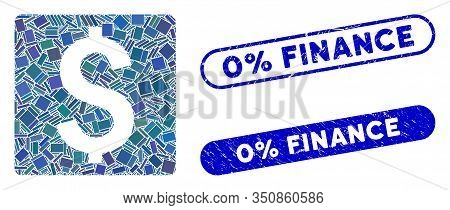 Mosaic Finance And Rubber Stamp Watermarks With 0 Percent Finance Caption. Mosaic Vector Finance Is