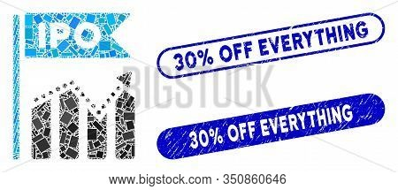 Mosaic Ipo Chart And Rubber Stamp Watermarks With 30 Percent Off Everything Text. Mosaic Vector Ipo