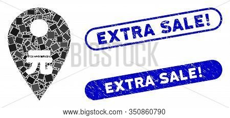Collage Yuan Map Marker And Grunge Stamp Seals With Extra Sale Exclamation Caption. Mosaic Vector Yu