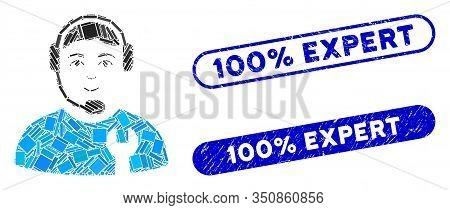 Collage Call Center Serviceman And Rubber Stamp Seals With 100 Percent Expert Text. Mosaic Vector Ca