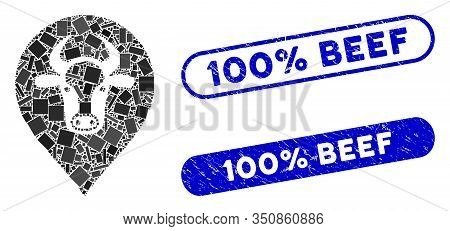 Mosaic Cow Map Pointer And Grunge Stamp Seals With 100 Percent Beef Text. Mosaic Vector Cow Map Poin