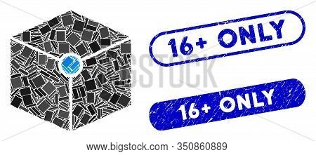Mosaic Cube Vertex And Distressed Stamp Seals With 16 Plus Only Text. Mosaic Vector Cube Vertex Is C