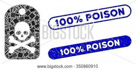 Mosaic Death Sticker And Grunge Stamp Seals With 100 Percent Poison Text. Mosaic Vector Death Sticke
