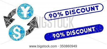 Mosaic Dollar Yuan Exchange And Grunge Stamp Seals With 90 Percent Discount Text. Mosaic Vector Doll