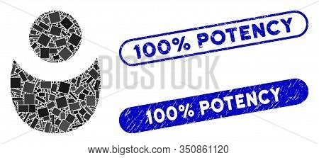 Mosaic Person And Rubber Stamp Seals With 100 Percent Potency Text. Mosaic Vector Person Is Designed