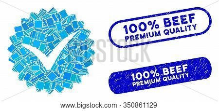 Mosaic Quality And Distressed Stamp Seals With 100 Percent Beef Premium Quality Caption. Mosaic Vect
